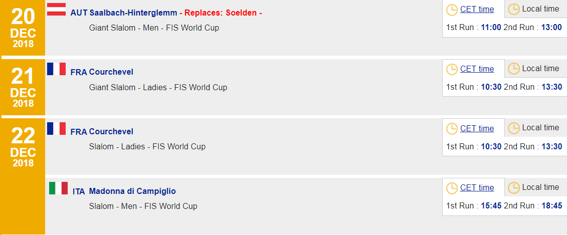 The FIS Alpine Skiing World Cup calendar has been updated to reflect the change ©FIS