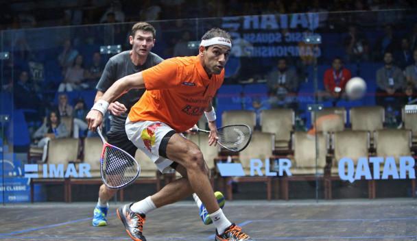Defending champion Mohamed Elshorbagy ended the run of Adrian Waller ©PSA