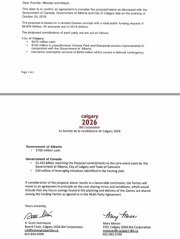 Calgary 2026 has distributed a letter confirming the signing of the agreement ©Calgary 2026