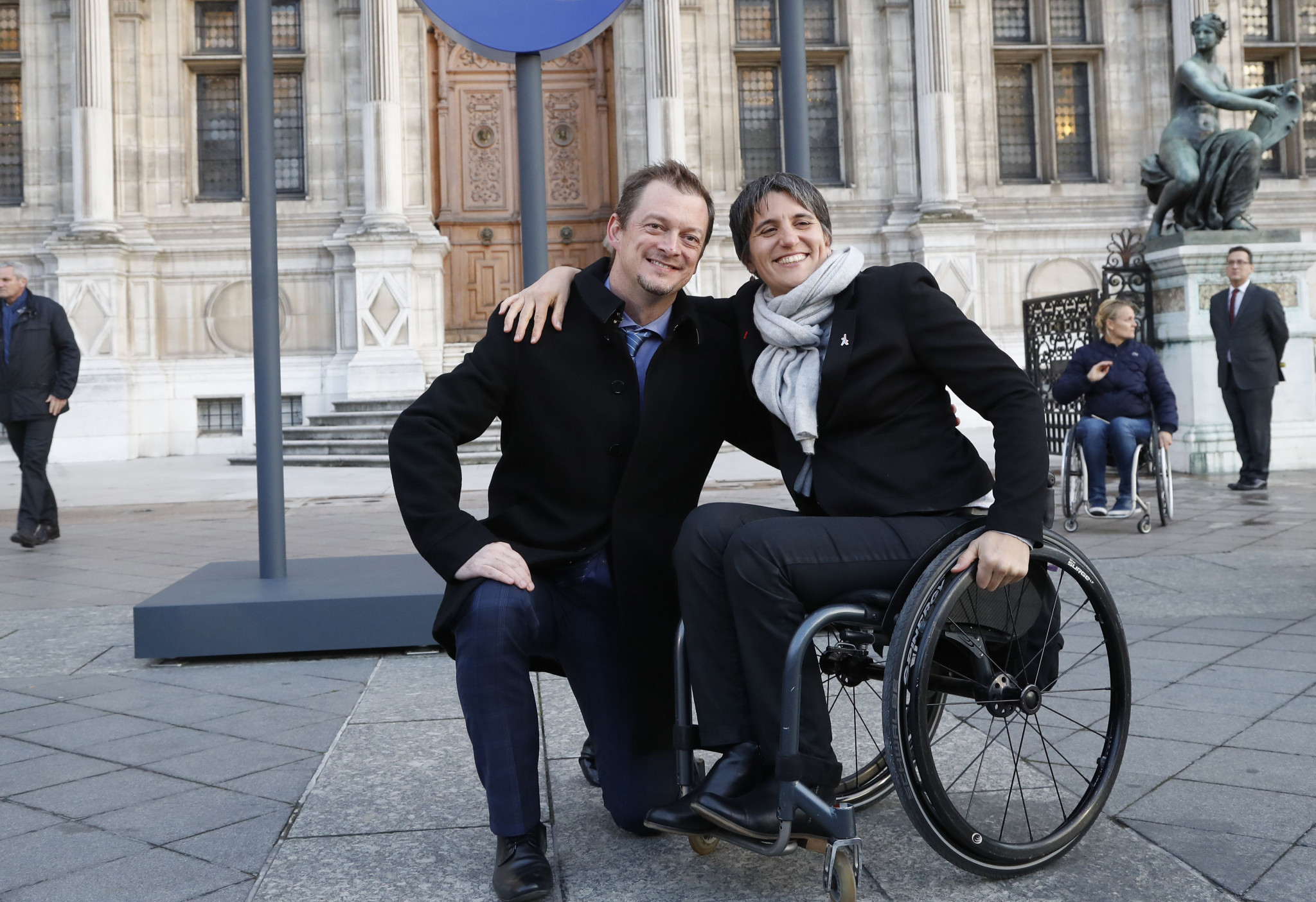 Emmanuelle Assmann, right, with IPC President Andrew Parsons ©Getty Images