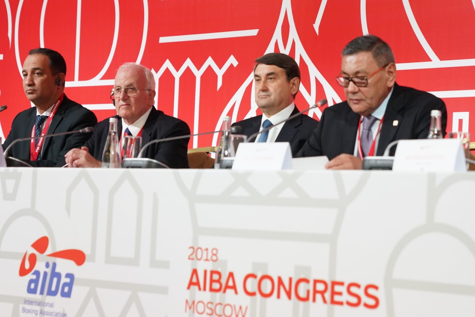 The AIBA Congress in Moscow will debate a proposal which would allow Gafur Rakhimov, far right, to step aside as President for up to year in the hope it will help save boxing's place on the Olympic programme at Tokyo 2020 ©AIBA