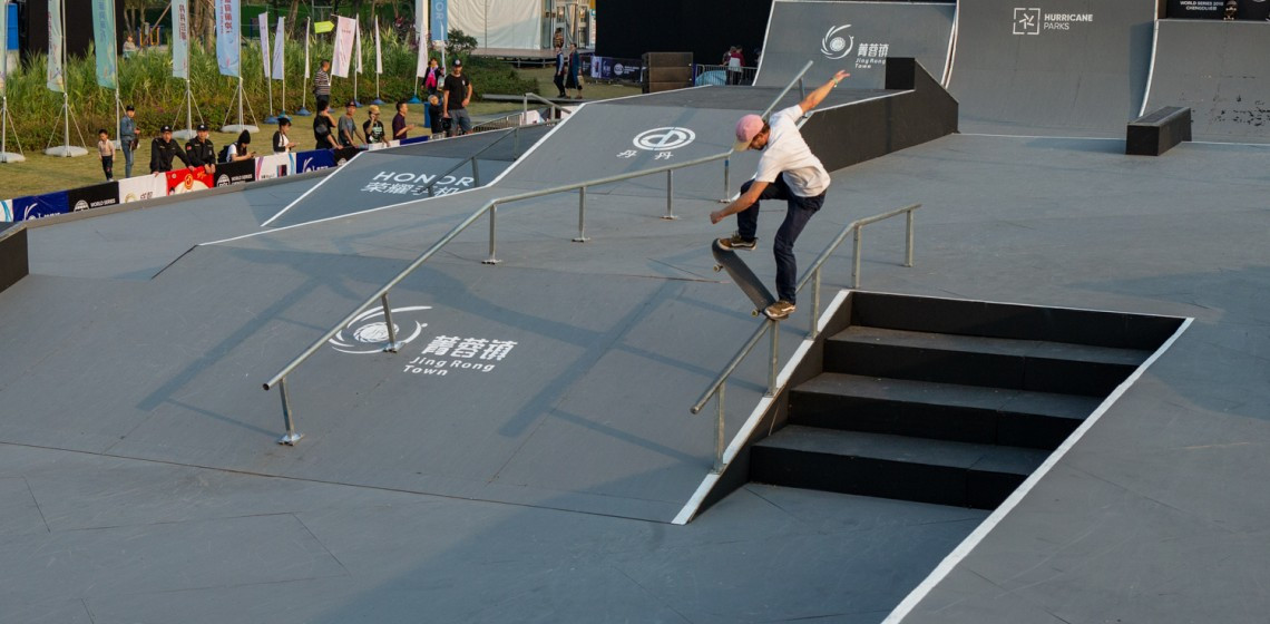 Dakota Schuetz of the United States won the first gold of the Festival of Extreme Sports (FISE) World Series in Chengdu in the men's scooter pro event ©FISE