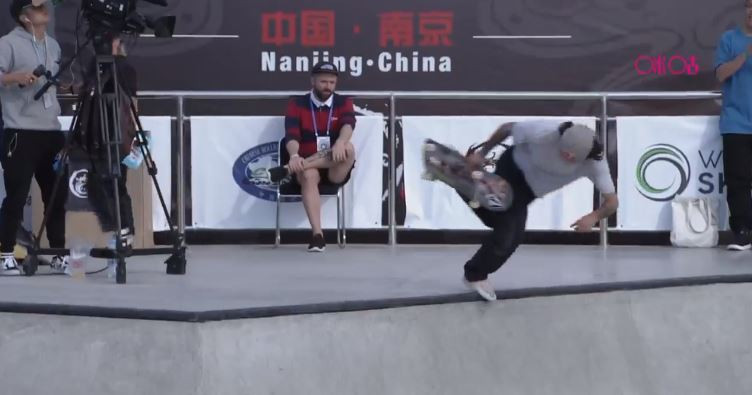 Action from today's men's qualifying at the Park Skateboarding World Championships, from which 26 progressed to tomorrow's semi-finals ©World Skate