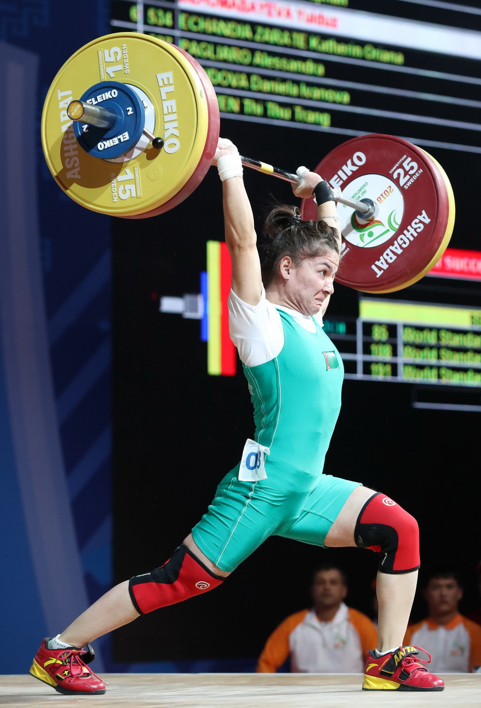 Home athlete Yulduz Dzhumabayeva today had two of her bronze medals from yesterday's women's 45 kilograms event at the 2018 International Weightlifting Federation World Championships upgraded to silver ©IWF