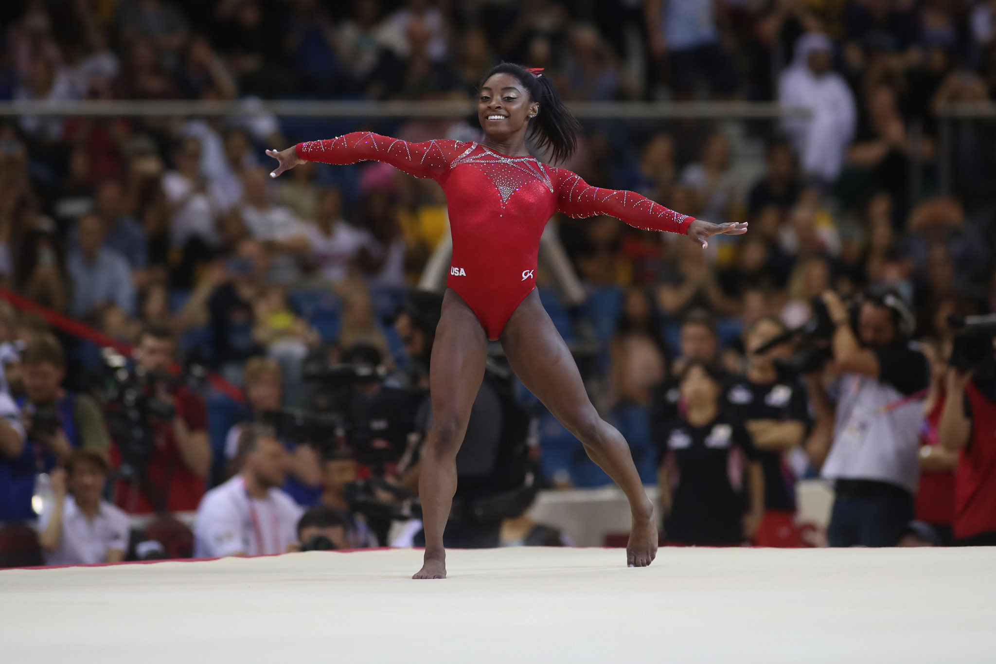 Simone Biles clinched a record-extending 14th Artistic Gymnastics World Championships title as she capped off a sublime display ©Getty Images