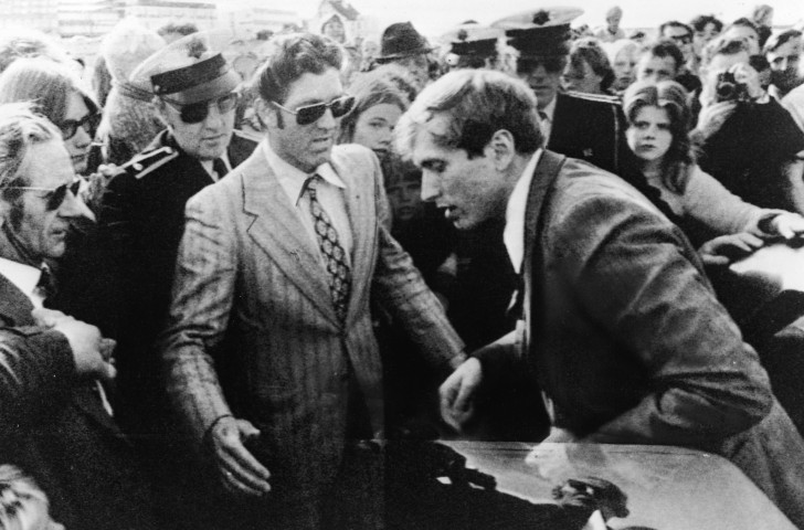 Bobby Fischer, chess genius, arrives for the third game in his