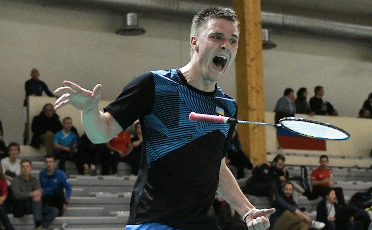 Ukraine's Oleksandr Chyrkov reacts after earning a place in the final at the European Para-Badminton Championships in France ©BWF