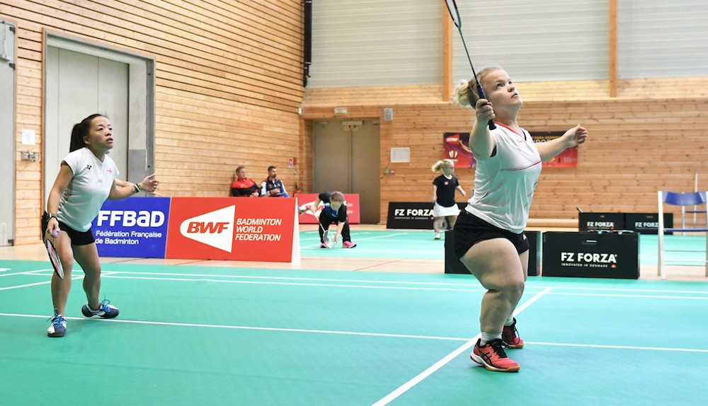 Rachel Choong and Rebecca Bedford of England en-route to a third group win in the women's doubles SS6 category ©BWF