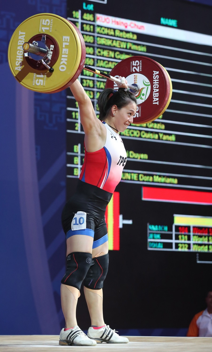 Chinese Taipei's Kuo Hsing-Chun held out for the overall gold medal in the women's 59kg category ©IWF