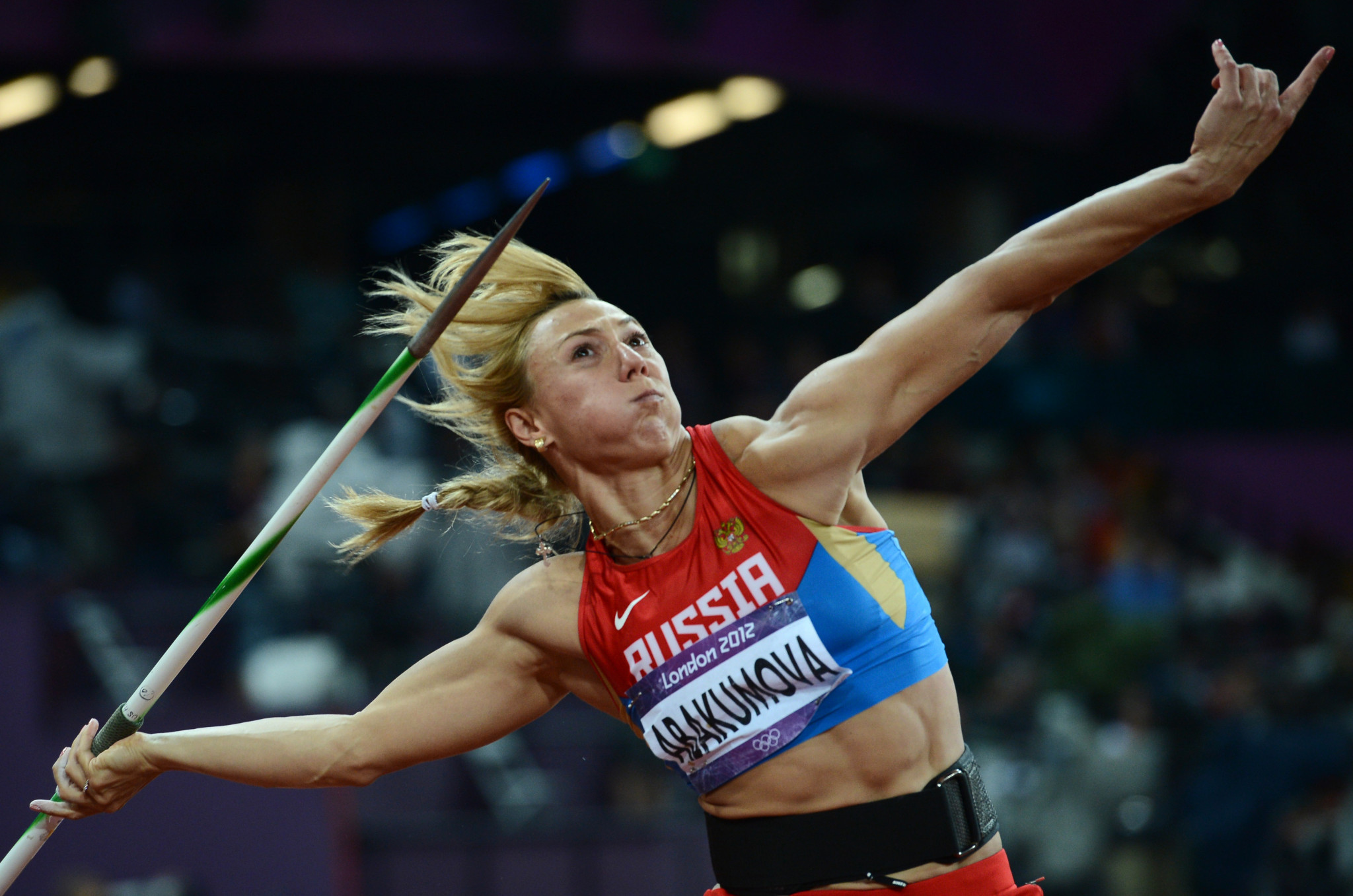 Mariya Abakumova was one of the athletes to be stripped of a London 2012 medal following a positive in the initial retests ©Getty Images