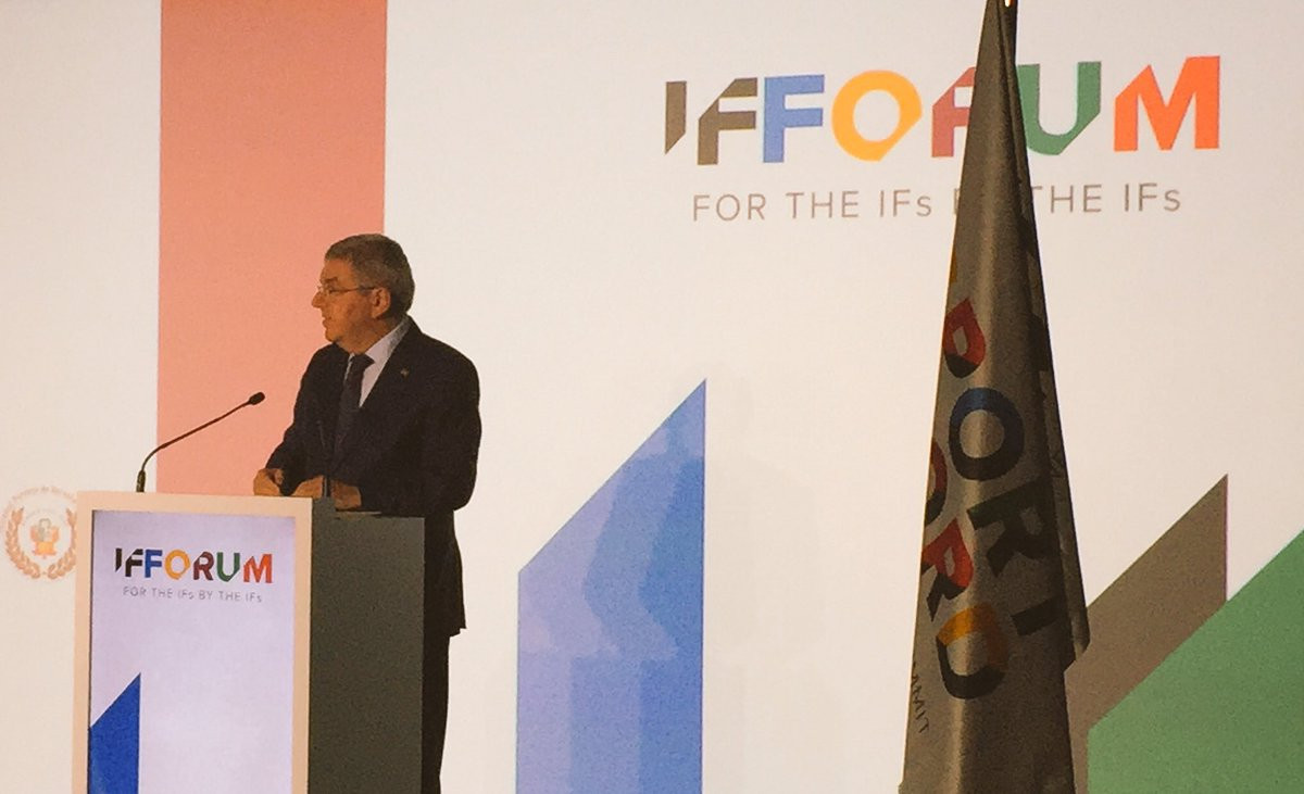 IOC President Thomas Bach stated that the void left by Patrick Baumann could be felt at the IF Forum ©GAISF
