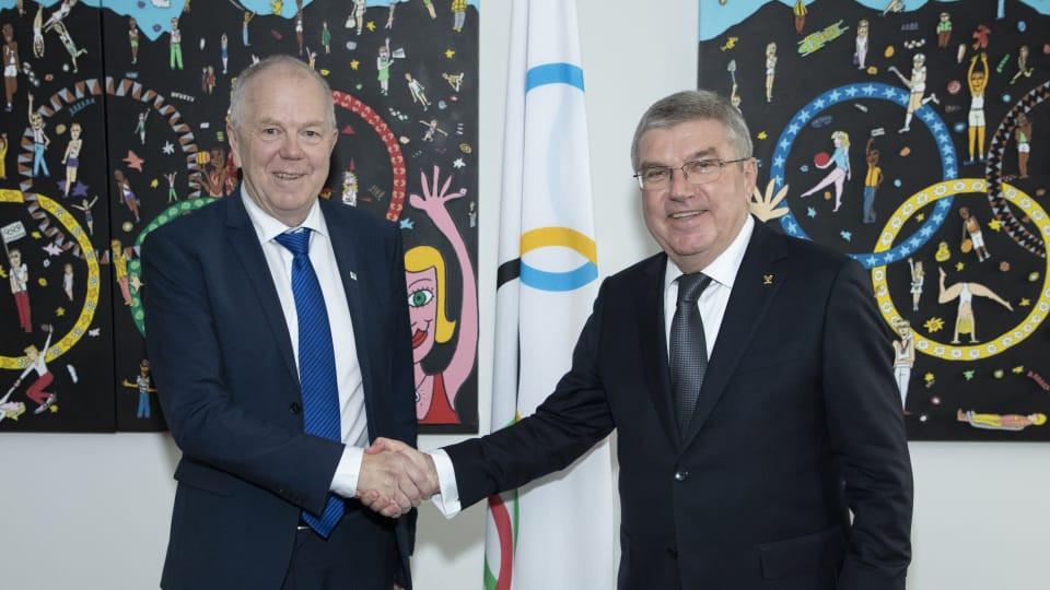 IBU President Olle Dahlin met with IOC counterpart Thomas Bach last week ©IBU