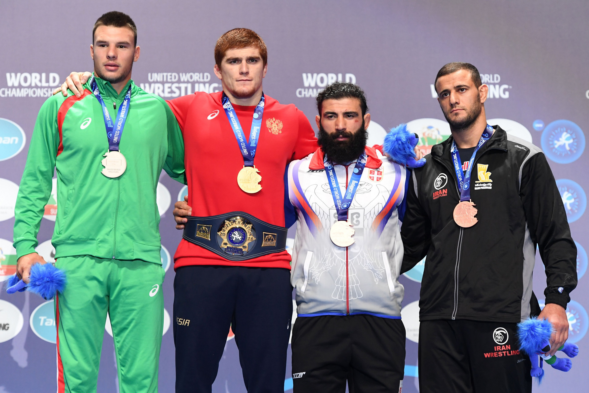Mehdi Aliyari, right, was one of four Iranian bronze medallists at the World Wrestling Championships in Budapest ©Getty Images