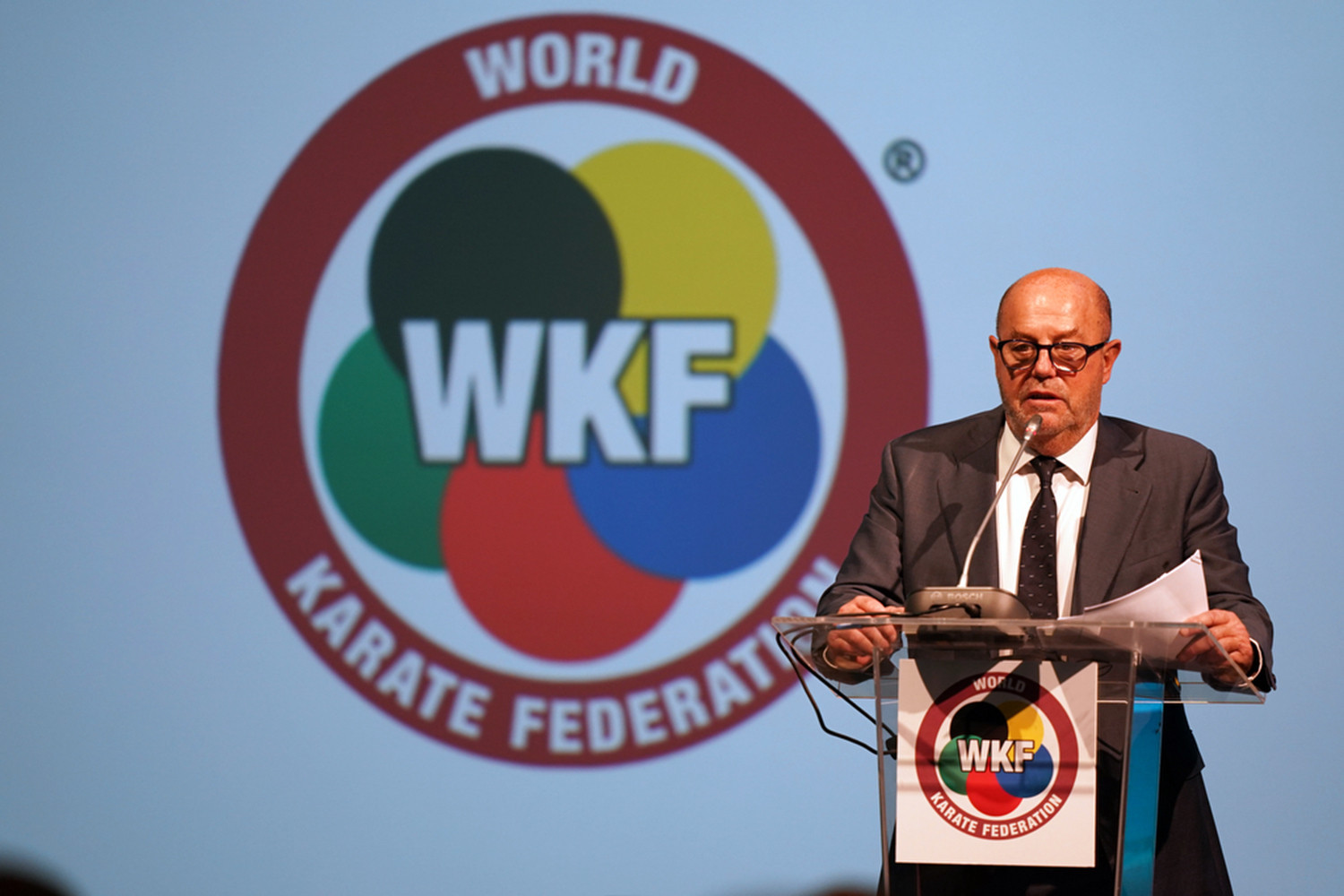 WKF President Antonio Espinós gave a progress report to the Congress ©WKF