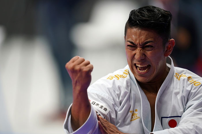 Shimizu's compatriot Ryo Kiyuna also maintained his pursuit of a hat-trick of consecutive kata crowns ©WKF