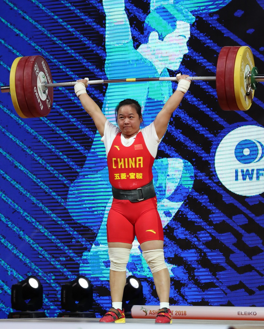 China's Zhang Wangli managed world standards in the clean and jerk and total on her way to securing all three gold medals at the IWF World Championships in the women's 71kg event ©IWF