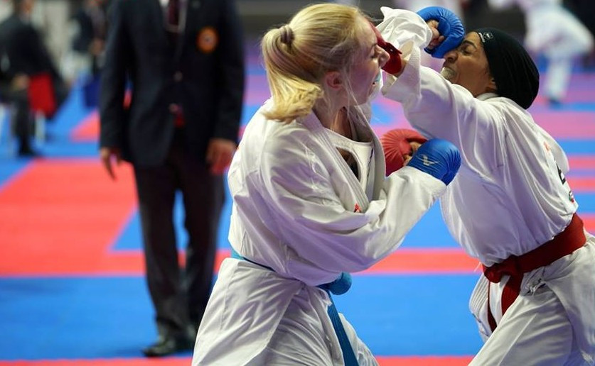 Greece's Eleni Chatziliadou claimed victory in a hard-fought women's over-68kg semi-final ©WKF