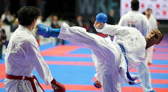 Germany's Jonathan Horne, right, reached the men's over-84kg final in style ©WKF
