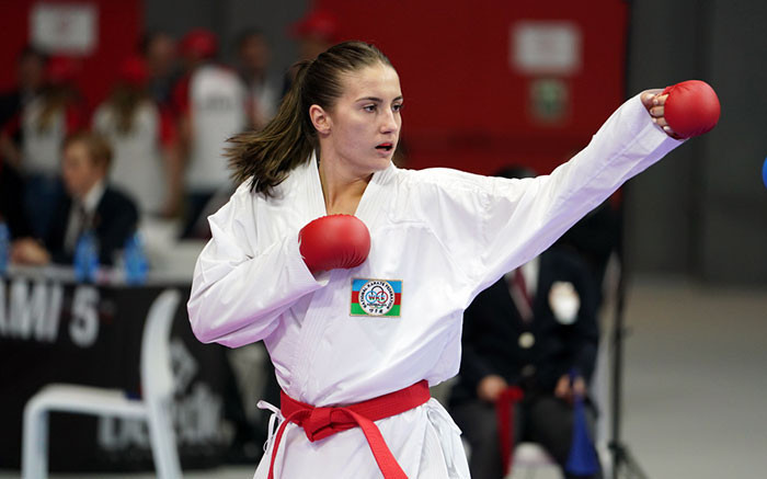 Irina Zaretska of Azerbaijan booked a place in a World Championships final for the first time in the women's under-68kg division ©WKF