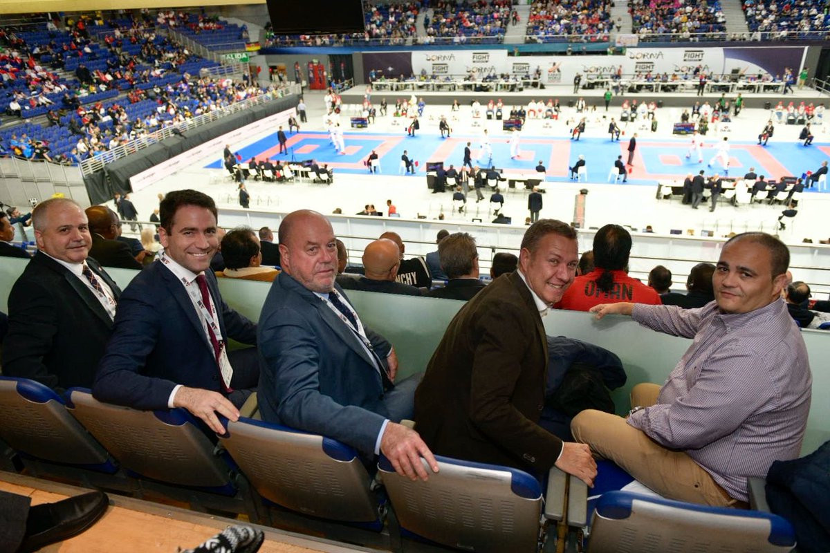 WKF President Antonio Espinos watches on from the stands on the first day of competition ©Twitter