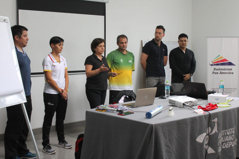 Dina Abouzeid and Letisson Samarone led the workshop for athletes and coaches participating in the Pan Am Para-Badminton Championhips