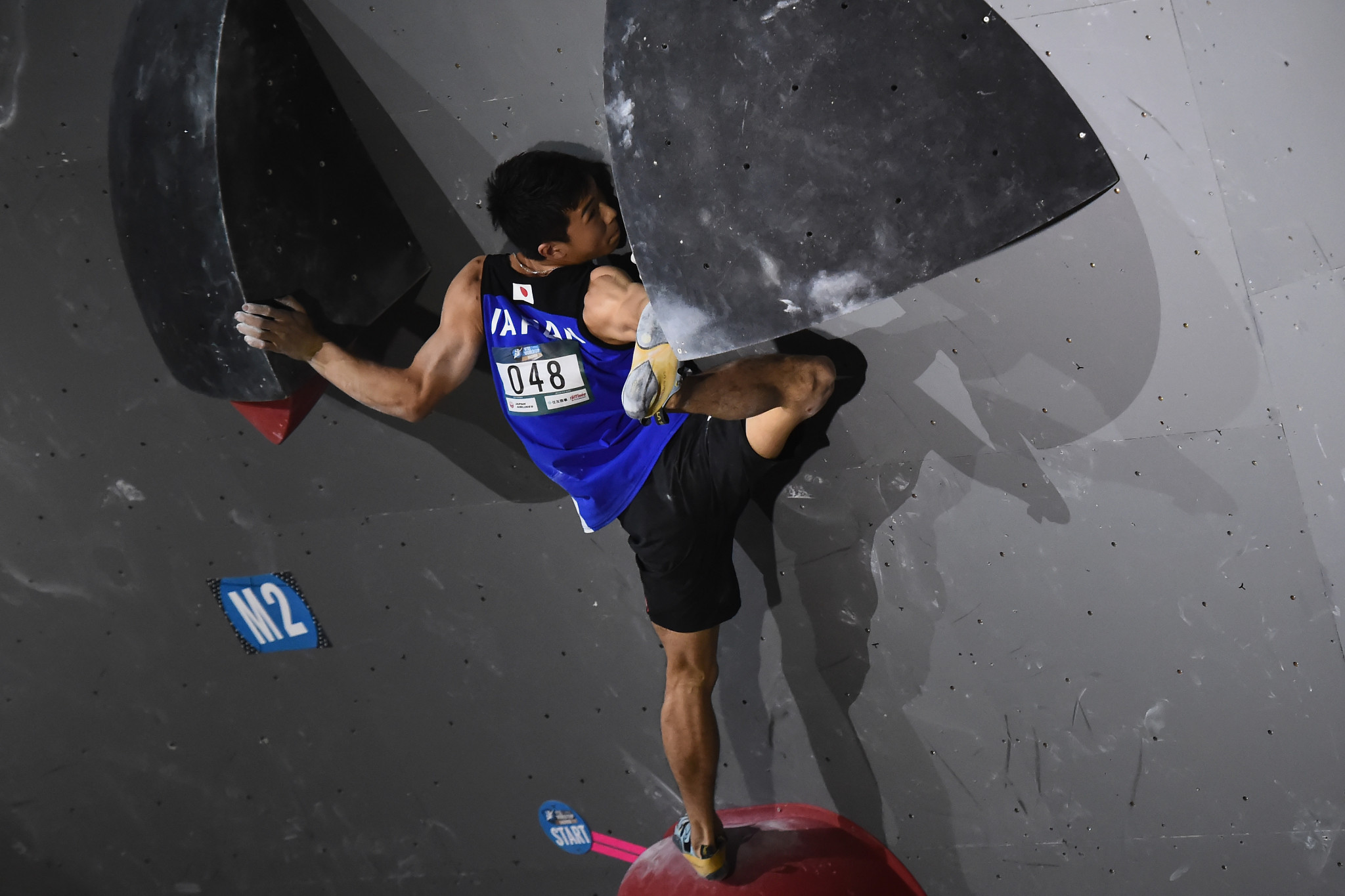 Japan's Rei Sugimoto came first in the men's bouldering semi-final at the IFSC Asian Championships in Kurayoshi ©Getty Images