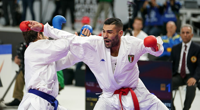 Italian Luigi Busa ended Rafael Aghayev's pursuit of a record-breaking sixth Karate World Championships gold medal ©WKF
