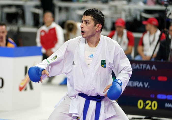Brazil's Vinicius Figueira will face France's 2016 Karate World Championships bronze medallist Steven Dacosta in the men's under-67kg final in Madrid ©WKF