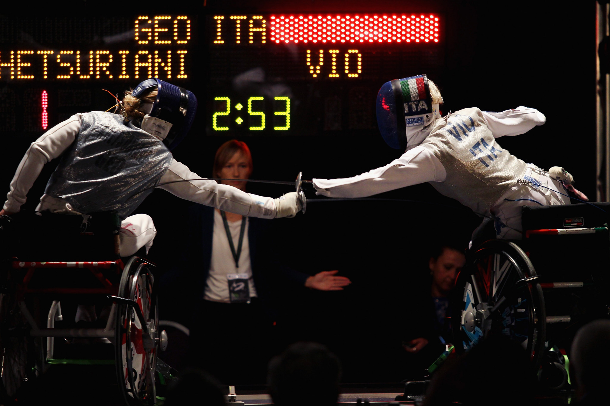 Georgia's first female wheelchair fencer and world champion Irma Khetsuriani, left, is due to compete in the sabre category B at the IWAS Wheelchair Fencing World Cup in Tbilisi ©Getty Images