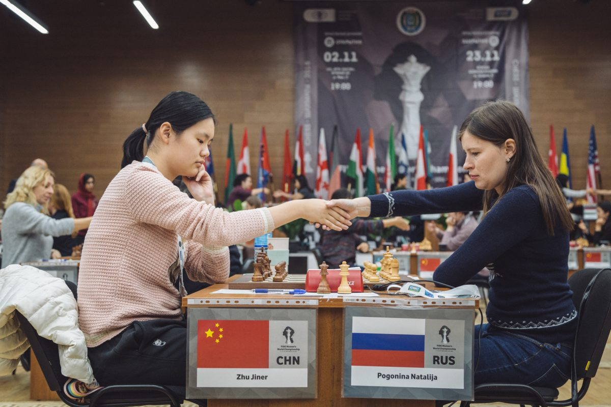 The match between Natalija Pogonina and Zhu Jiner will be decided by a tie breaker tomorrow ©FIDE