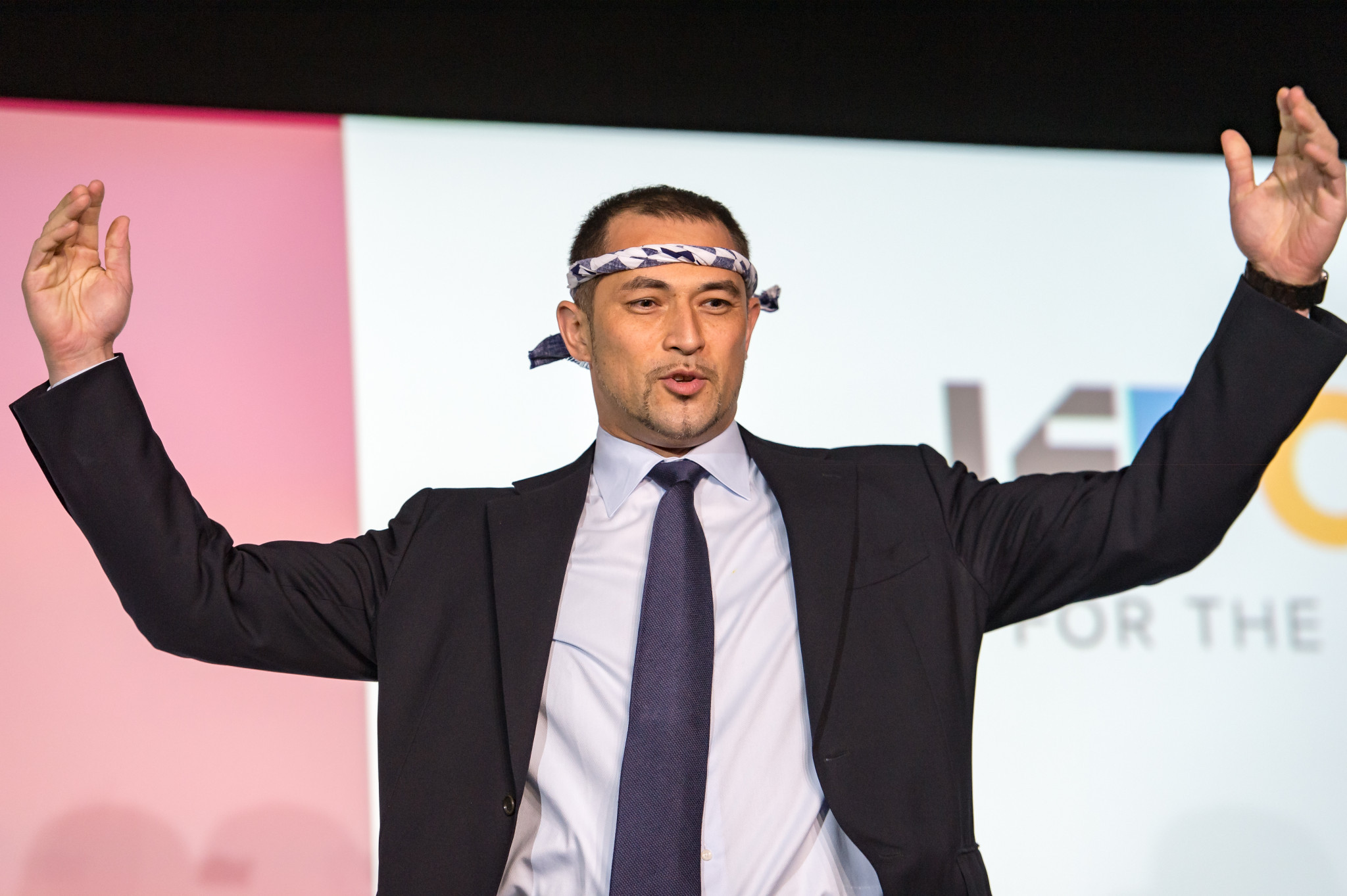 Tokyo 2020 sports director Koji Murofushi was in expansive form during his presentation on artificial intelligence and technology ©SportAccord