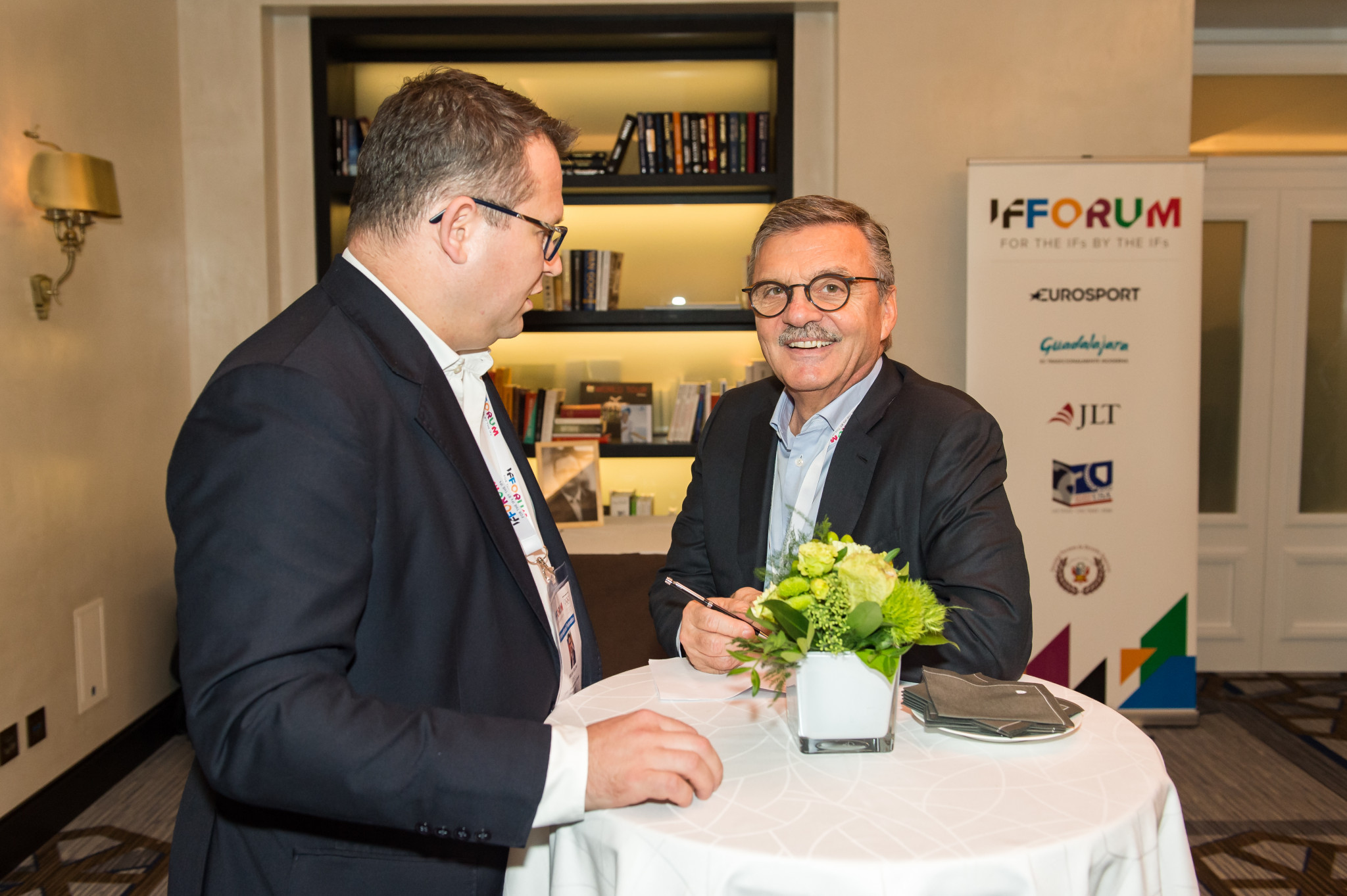 International Ice Hockey Federation President René Fasel, right, was among leading officials to attend the IF Forum ©SportAccord