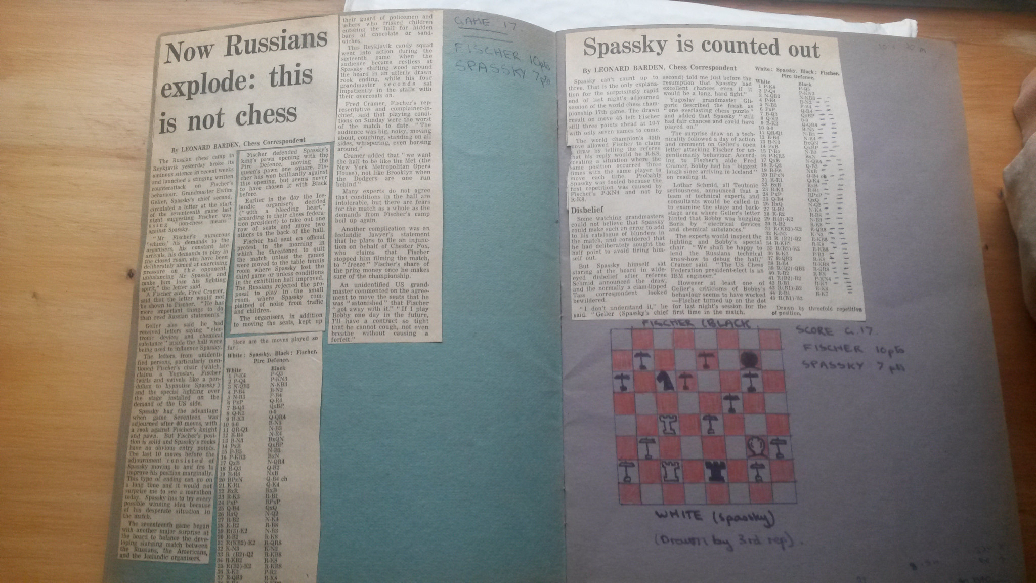 The mood shifted again as Boris Spassky's camp complained about Bobby Fischer employing