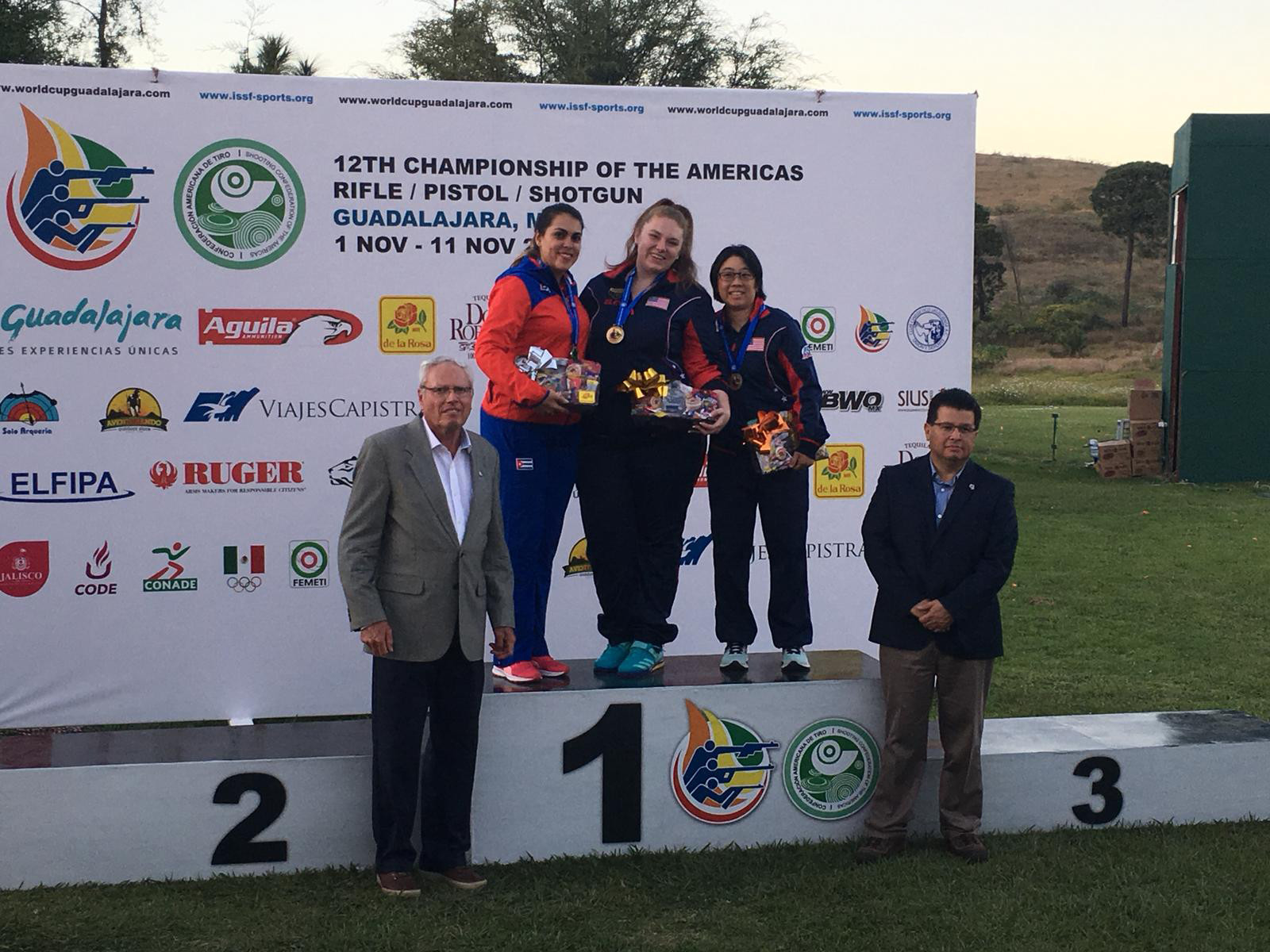 Alexis Lagan of the United States tops the podium in the women's 25 metres sport pistol at the Championship of the Americas in Mexico ©USA Shooting