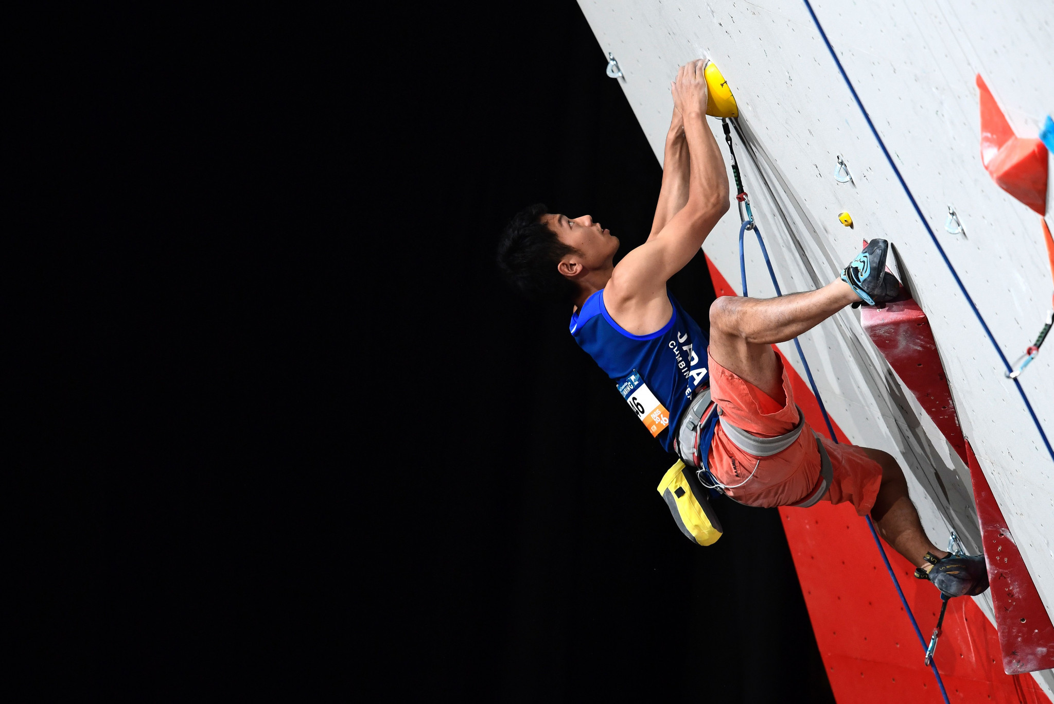 Masahiro Higuchi of Japan won the men's semi-final of the men's lead event at the IFSC Asian Championships ©Getty Images