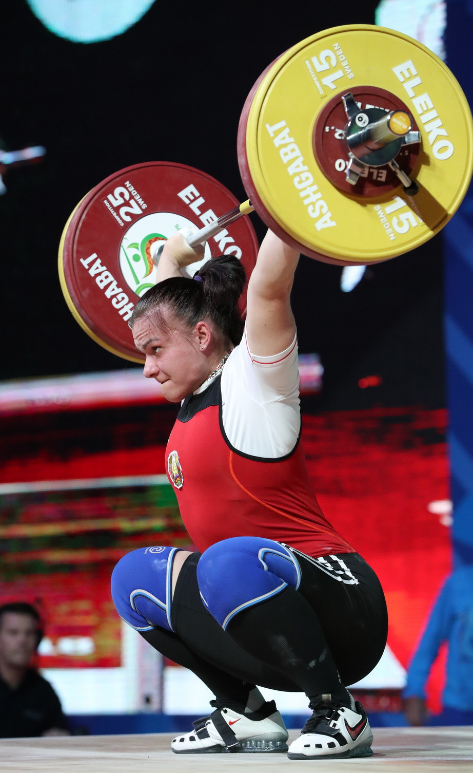 Belarus' Darya Naumava finished second in the total with 245kg ©IWF