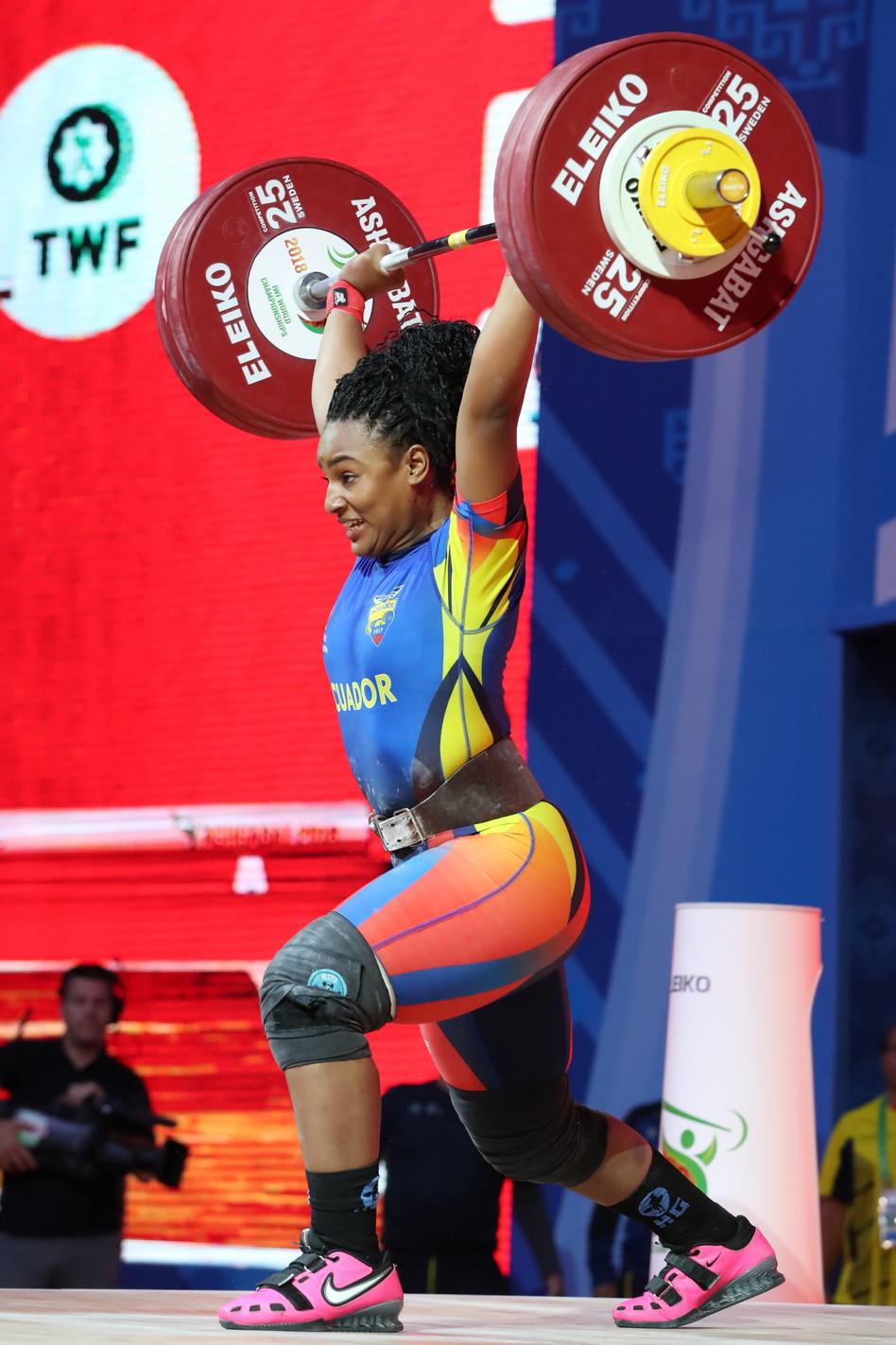 Ecuadorian Tamara Yajaira Salazar Arce stood on the third step of the overall podium with 242kg ©IWF