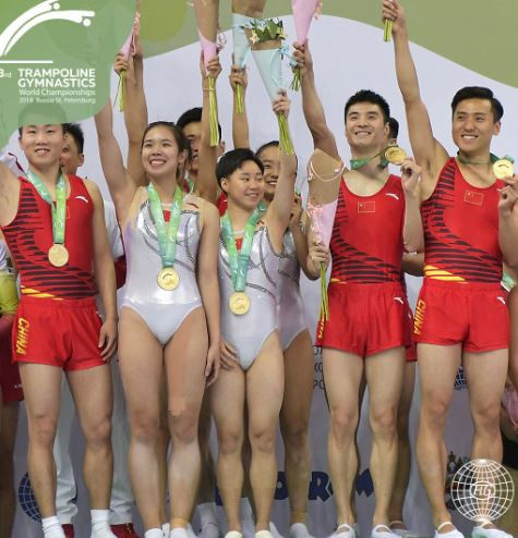 China have won the all-around final at the FIG Trampoline Gymnastics World Championships in Saint Petersburg ©FIG