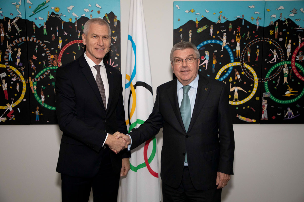 The FISU President Oleg Matytsin, left, has met with IOC President Thomas Bach to discuss the upcoming Universiades in Krasnoyarsk and Naples ©FISU