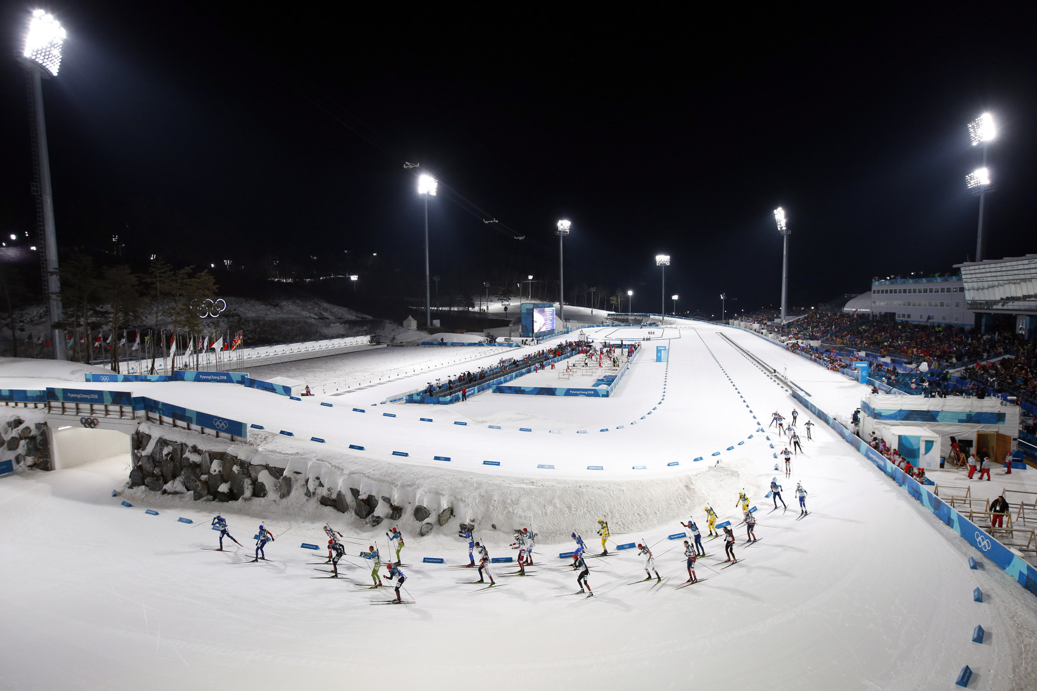 The floodlights add extra atmosphere to Winter Olympic sports such as biathlon ©Getty Images