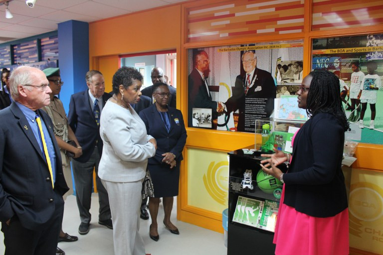 Dame Sandra Mason was given a tour of the National Olympic Museum and met with officials from the Barbados Olympic Association ©BOA