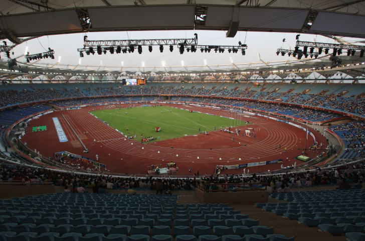 The new centre of athletics excellence for which IAAF President Sebastian Coe signed an expression of intent in New Delhi today will be accommodated within the sports complex at the Jawahar Lal Nehru Stadium, pictured here during the 2010 Commonwealth Games ©Getty Images