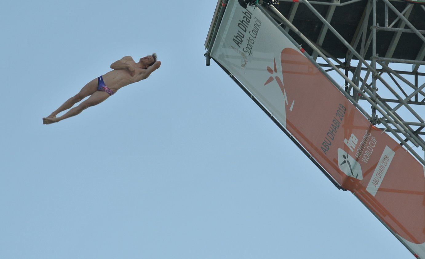 Jonathan Parades of Mexico is preliminary leader going into tomorrow's finals of the FINA High Diving World Cup in Abu Dhabi ©FINA