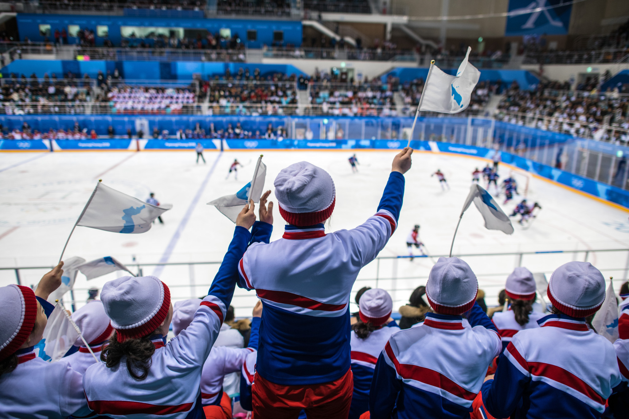 A joint Korea team competed in the women's ice hockey event at Pyeongchang 2018 and were supported by fans waving the unified flag ©Getty Images