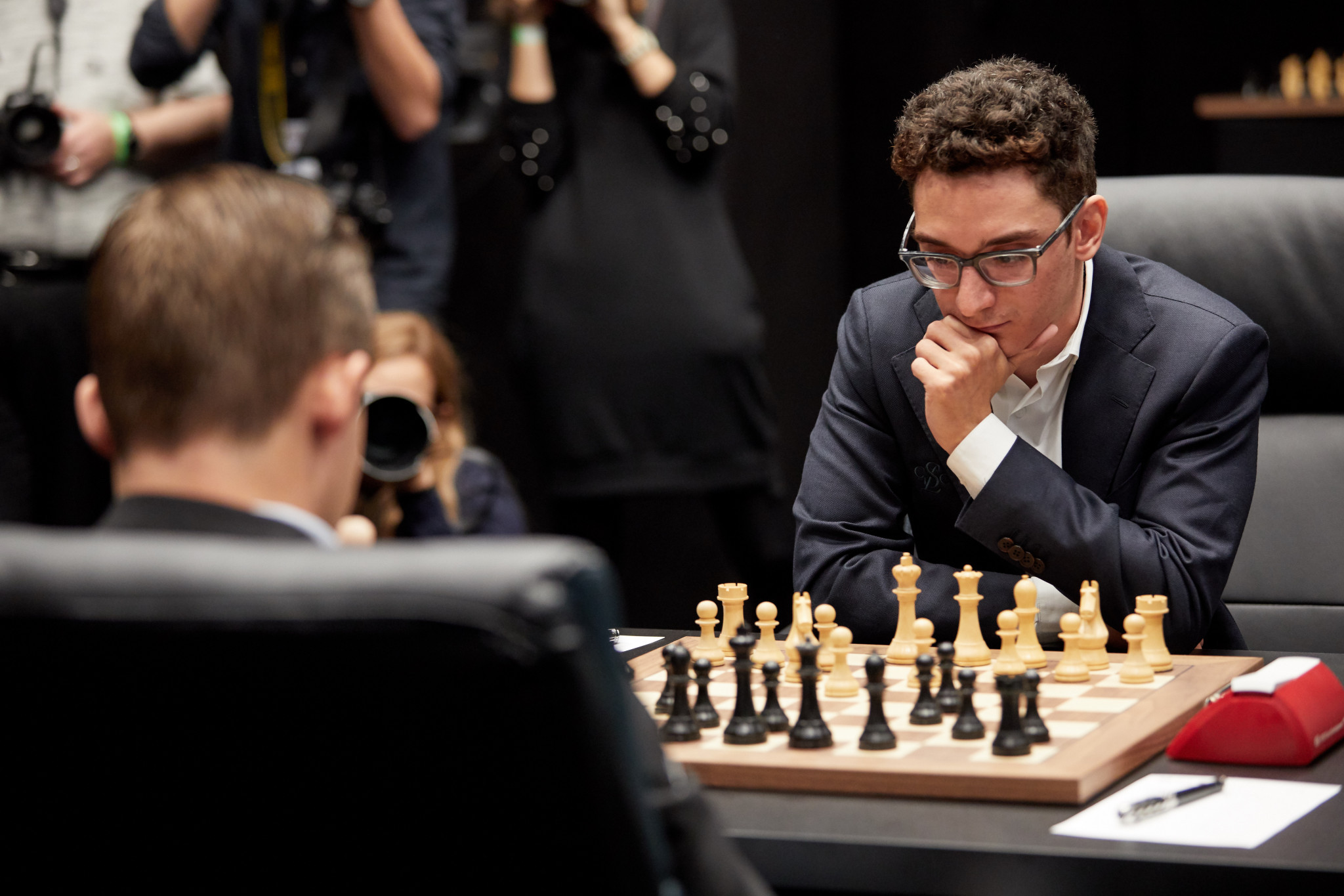 Magnus Carlsen and Fabiano Caruana drew their first match in the World Chess Championship ©Getty Images