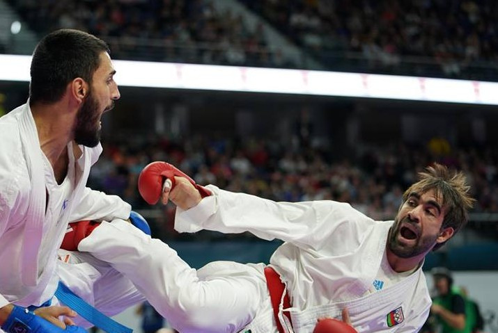 Azerbaijan's Rafael Aghayev, right, will not be leaving the Spanish capital with a gold medal ©WKF
