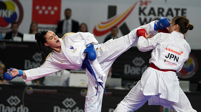France clinched their fourth women's team kumite title by defeating Japan ©WKF