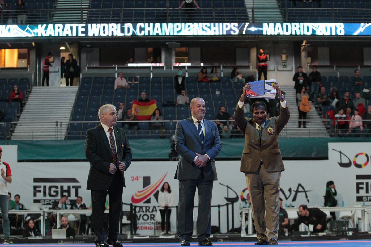 The WKF flag was officially passed to 2020 Karate World Championships hosts Dubai ©Twitter