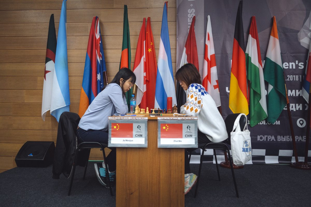 China's defending women's chess world champion Ju Wenjun, left, faces Uzbekistan's surprise package in the quarter-finals ©Getty Images