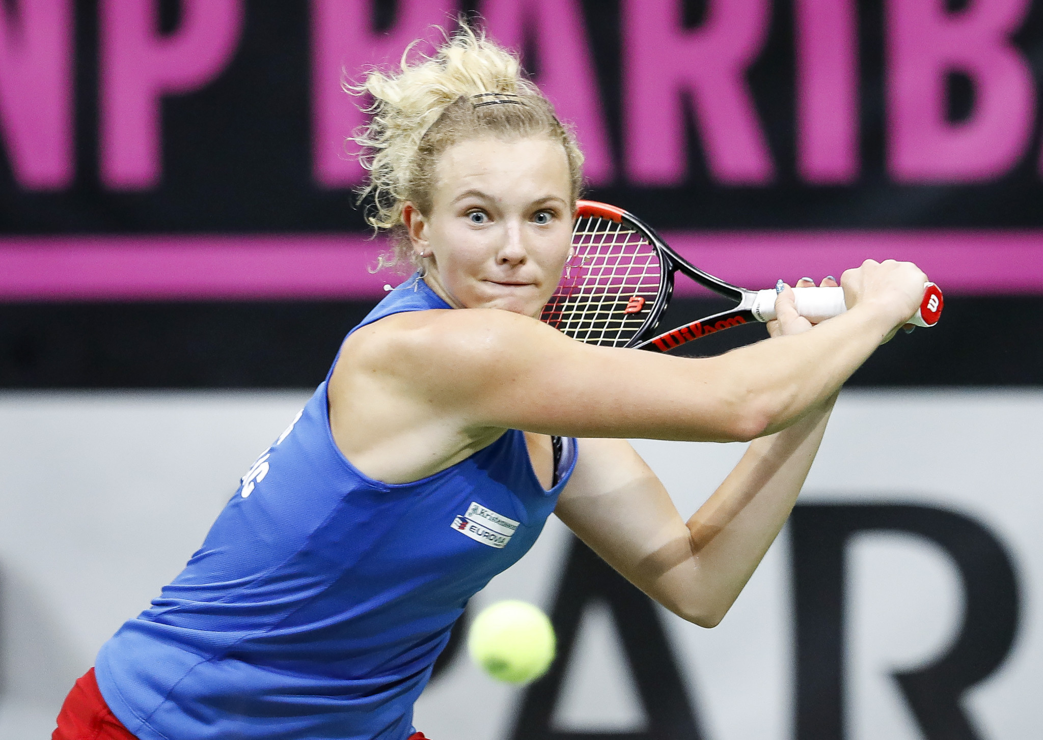Katerina Siniakova stormed to two victories in the Fed Cup final to help the Czech Republic win the title in front of home fans ©Getty Images
